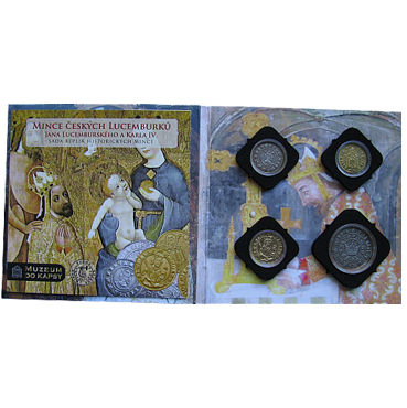 Mince českých Luxemburgovcov sada striebro + zlato